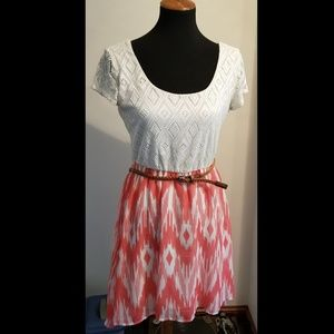 NEW! White and peach high low dress